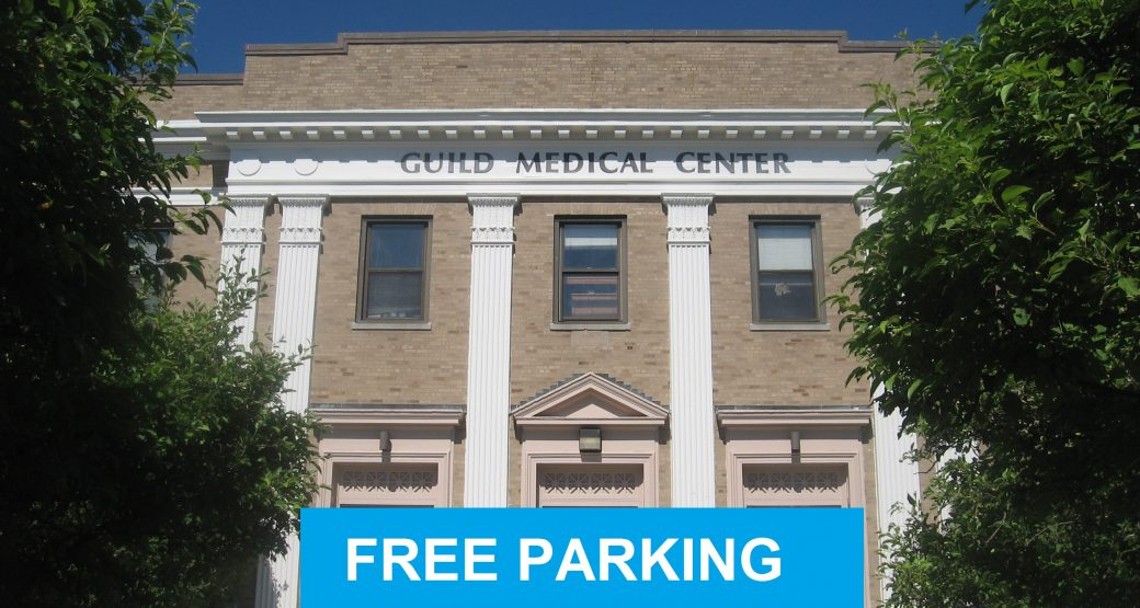 FREE PARKING AT GUILD MEDICAL BLD.